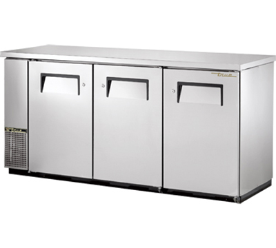 "True TBB-24-72FR-S 72"" Food Rated Back Bar Cooler - Holds (105) 6-Packs, 3-Solid Doors, Stainless"