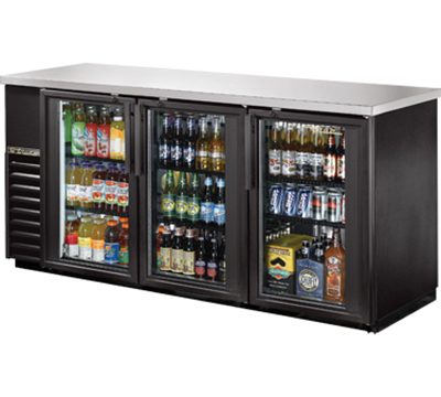 "True TBB-24-72G-LD 72"" Back Bar Cooler - Holds (84) 6-Packs, 3-Glass Doors, LED, Black"