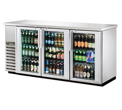 "True TBB-24-72G-S-LD 72"" Back Bar Cooler - Holds (84) 6-Packs, 3-Glass Doors, LED, Sta"