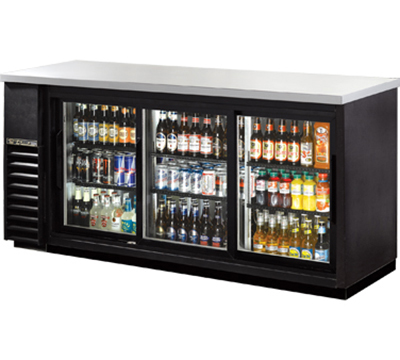 "True TBB-24-72G-SD-LD 72"" Back Bar Cooler - Holds (84) 6-Packs, 3-Sliding Glass Doors, LED, Black"