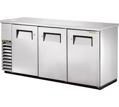 "True TBB-24-72-S 72"" Back Bar Cooler - Holds (84) 6-Packs, 3-Solid Doors, Stainless"