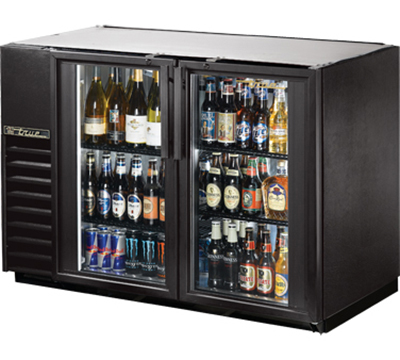 "True TBB-24GAL-48G-LED 48"" Back Bar Cooler - Holds (48) 6-Packs, 2-Glass Doors, Galvanized Top, LED, Black"