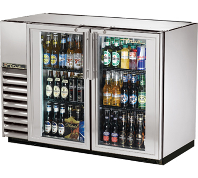"True TBB-24GAL-48G-S-LD 48"" Back Bar Cooler - Holds (48) 6-Packs, 2-Glass Doors, Galvanized Top, LED, Stainless"