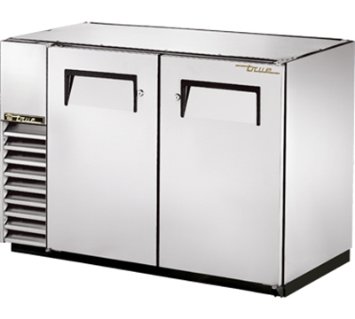 "True TBB-24GAL-48-S 48"" Back Bar Cooler - Holds (48) 6-Packs, 2-Solid Doors, Galvanized Top, Stainless"
