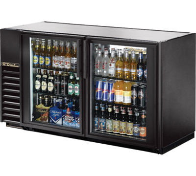 "True TBB-24GAL-60G-LD 60"" Back Bar Cooler - Holds (72) 6-Packs, 2-Glass Doors, Galvanized Top, LED, Black"