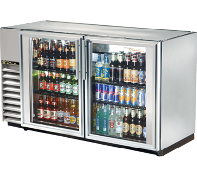 "True TBB-24GAL-60G-S-LD 60"" Back Bar Cooler - Holds (72) 6-Packs, 2-Glass Doors, Galvanized Top, LED, Stainless"