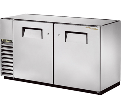 "True TBB-24GAL-60-S 60"" Back Bar Cooler - Holds (72) 6-Packs, 2-Solid Doors, Galvanized Top, Stainless"