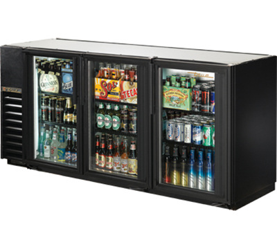 "True TBB-24GAL-72G-LD 72"" Back Bar Cooler - Holds (84) 6-Packs, 3-Glass Doors, Galvanized Top, LED, Black"