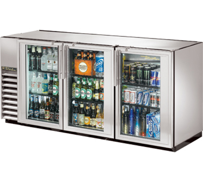 "True TBB-24GAL-72G-S-LD 72"" Back Bar Cooler - Holds (84) 6-Packs, 3-Glass Doors, Galvanized Top, LED, Stainless"