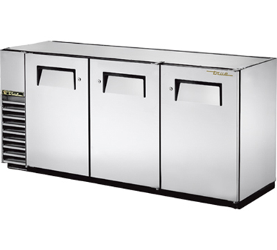"True TBB-24GAL-72-S 72"" Back Bar Cooler - Holds (84) 6-Packs, 3-Solid Doors, Galvanized Top, Stainless"