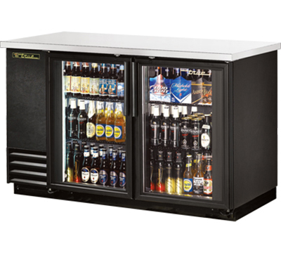 "True TBB-2G-LD 58"" Back Bar Cooler - Holds (88) 6-Packs, 2-Glass Doors, LED, Black"