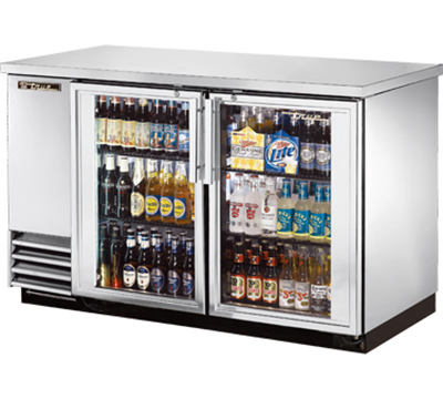 "True TBB-2G-S-LD 58"" Back Bar Cooler - Holds (88) 6-Packs, 2-Glass Doors, LED, Stainless"