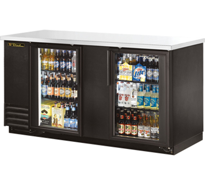 "True TBB-3G-LD 69"" Back Bar Cooler - Holds (112) 6-Packs, 2-Glass Doors, LED, Black"