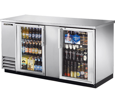 "True TBB-3G-S-LD 69"" Back Bar Cooler - Holds (112) 6-Packs, 2-Glass Doors, LED, Stainless"