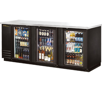 "True TBB-4G-LD 90"" Back Bar Cooler - Holds (152) 6-Packs, 3-Glass Doors, LED, Black"