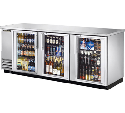 "True TBB-4G-S-LD 90"" Back Bar Cooler - Holds (152) 6-Packs, 3-Glass"