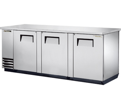"True TBB-4PT-S 90"" Pass-Thru Back Bar Cooler - Holds (152) 6-Packs, 6-Solid Doors, Stainless"