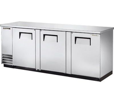 "True TBB-4-S 90"" Back Bar Cooler - Holds (152) 6-Packs, 3-Solid Doors, Stainless"