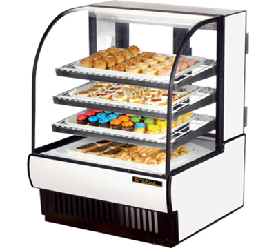 "True TCGD-36 WHT 36"" Non-Refrigerated Bakery Case - Curved Glass, White"