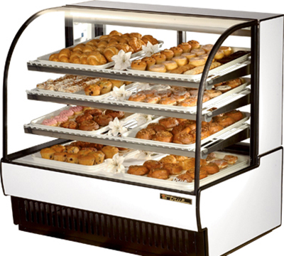 "True TCGD-50 WHT 50"" Non-Refrigerated Bakery Case - Curved Glass, White"