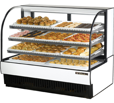 "True TCGD-59 WHT 59"" Non-Refrigerated Bakery Case - Curved Glass, White"