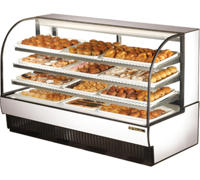 "True TCGD-77 WHT 77"" Non-Refrigerated Bakery Case - Curved Glass, White"