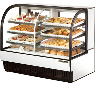 "True TCGDZ-59 WHT 59"" Dry Refrigerated Bakery Case - Curved Glass, White"