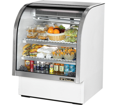 "True TCGG-36 36"" Refrigerated Deli Case - Curved Glass, White"