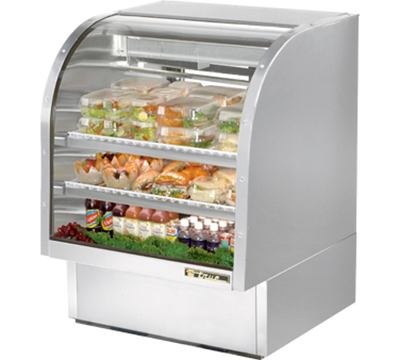 "True TCGG-36-S 36"" Refrigerated Deli Case - Curved Glass, Stainless"
