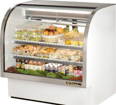 "True TCGG-48 48"" Refrigerated Deli Case - Curved Glass, White"
