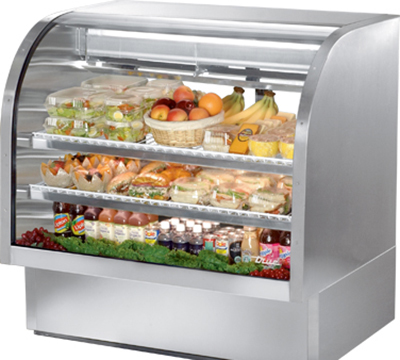 "True TCGG-48-S 48.25"" Self Service Refrigerated Deli Case w/ Curved Glass - (3) Levels, 115v"