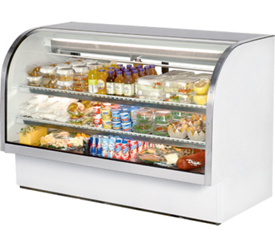 "True TCGG-72 72"" Refrigerated Deli Case - Curved Glass, White"