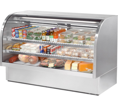"True TCGG-72-S 72"" Refrigerated Deli Case - Curved Glass, Stainless"
