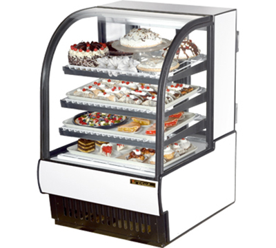 "True TCGR-31 WHT 31"" Refrigerated Bakery Case - Curved Glass, White"