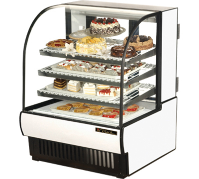 "True TCGR-36 WHT 36"" Refrigerated Bakery Case - Curved Glass, White"