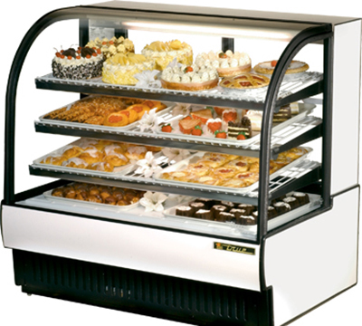 "True TCGR-50 WHT 50"" Refrigerated Bakery Case - Curved Glass, White"