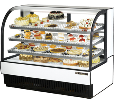 "True TCGR-59 WHT 59"" Refrigerated Bakery Case - Curved Glass, White"