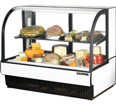 "True TCGR-59-CD WHT 59"" Cold Deli Display Case - Curved Glass, White"