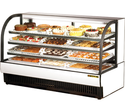 "True TCGR-77 WHT 77"" Refrigerated Display Case - Curved Glass, White"