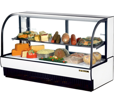 "True TCGR-77-CD WHT 77"" Cold Deli Display Case - Curved Glass, White"
