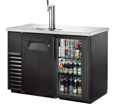 "True TDB-24-48-1-G-1-LD 48"" Draft Beer Cooler - Holds (144) 12-oz Can Cases, 1-Solid/1-Glass Door, LED, Black"