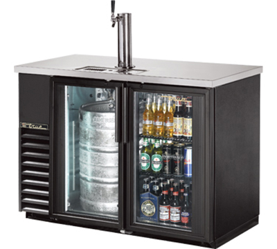 "True TDB-24-48G-LD 48"" Draft Beer Cooler - Holds (144) 12-oz Can Cases, 2-Glass Doors, LED, Black"