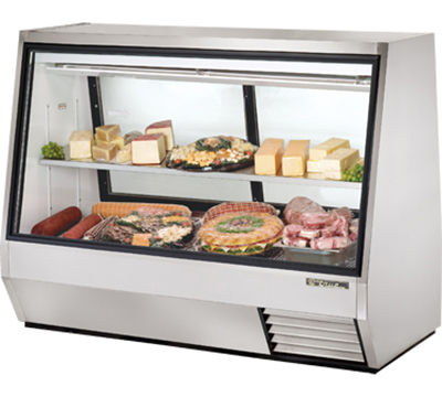 "True TDBD-72-2 72"" See-Thru Double Duty Deli Case - Glass Front, 2-Rear Doors"