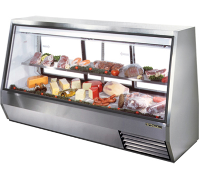 "True TDBD-96-3 96"" See-Thru Double Duty Deli Case - Glass Front, 3-Rear Doors"