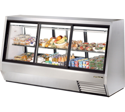 "True TDBD-96-6 96"" See-Thru Double Duty Deli Case - 3-Front/3-Rear Doors"