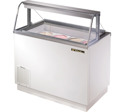 "True TDC-47-CG 47"" Curved Glass Dipping Cabinet - Holds 4-Display & 5-Storage 3-gal Cans, White"