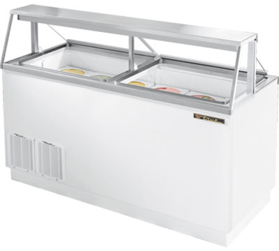 "True TDC-67 67"" Dipping Cabinet - Holds 12-Display & 8-Storage 3-gal Cans, White"