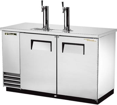 "True TDD-2-S 59"" Draft Beer Cooler - Holds 2-Kegs, 2-Columns, Stainless"