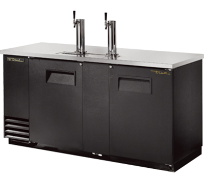 "True TDD-3 69"" Draft Beer Cooler - Holds 3-Kegs, 2-Columns, Black"