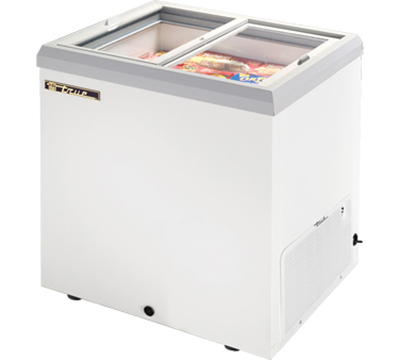 "True TFM-29FL WHT 29"" Horizontal Freezer - 2-Flat Sliding Lids, White"